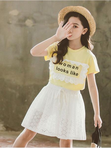 奥迈丽童装品牌2019春夏新款韩版纯色裙裤两件套装