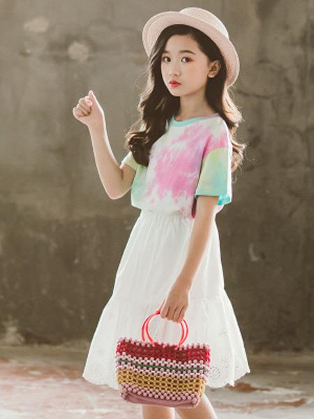奥迈丽童装品牌2019春夏新款韩版印花套装公主裙两件套装