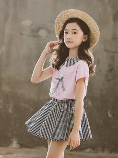 奥迈丽童装品牌2019春夏新款韩版短袖套装两件套