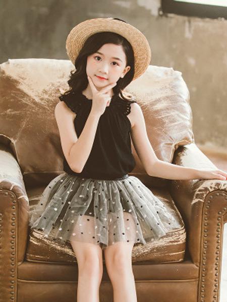 奥迈丽童装品牌2019春夏新款韩版印花公主裙套装
