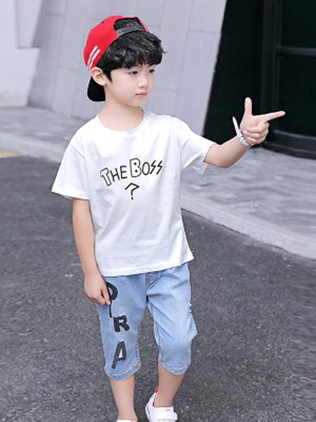 文剑雅业童装品牌2019春夏新款韩版牛仔中裤两件套