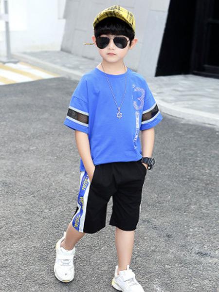 文剑雅业童装品牌2019春夏新款韩版休闲印花字母短袖套装