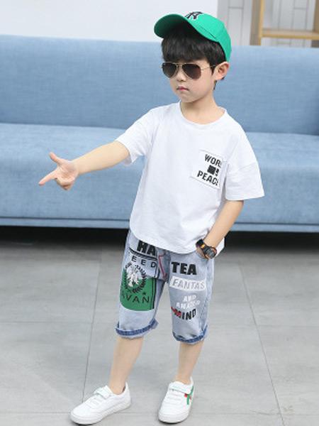 文剑雅业童装品牌2019春夏新款短袖休闲印花运动两件套