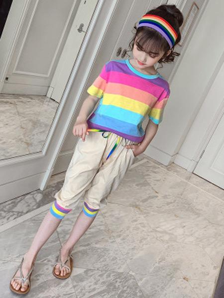 文剑雅业童装品牌2019春夏新款韩版纯棉彩虹短袖套装