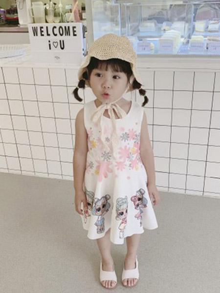 赫拉米斯童装品牌2019春夏新款小女孩印花2色连衣裙