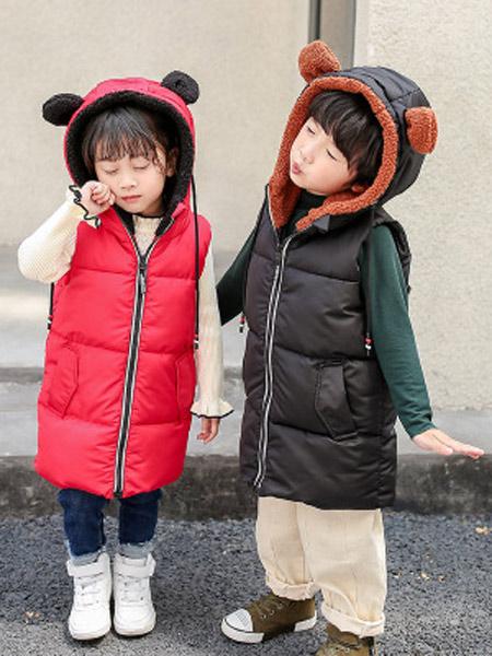 寒盾童装品牌2019秋冬新款韩版连帽中长款羽绒棉马甲
