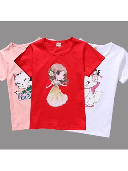 恒雨童装品牌2019春夏新款时尚宽松休闲圆领印花短袖T恤