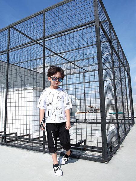 佐米熊童装品牌新款简约小清新印花短袖T恤