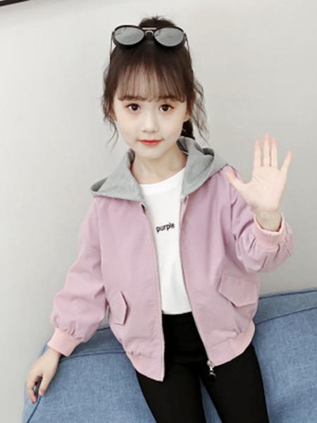 童赫童装品牌2019秋季新款拼色可爱潮范夹克纯棉拉链外套