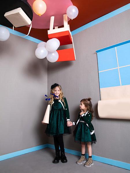 迷你铅笔童装品牌2019秋季新品小童丝绒加绒两件套蕾丝连衣裙