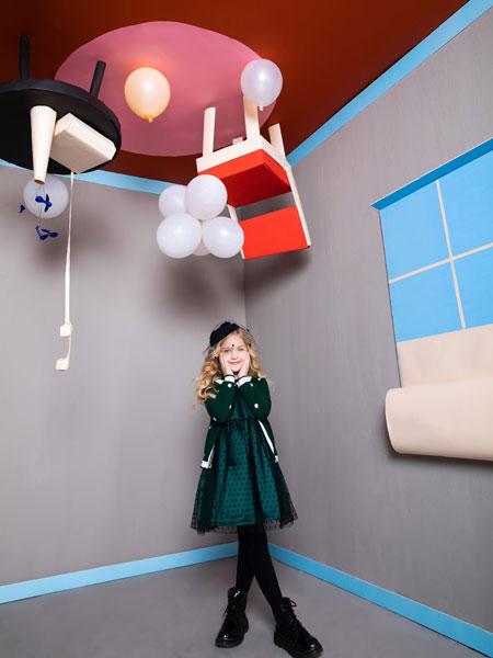 铅笔俱乐部童装品牌2019秋季新款儿童民族风礼服连衣裙