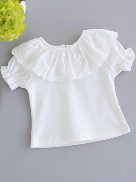 贝普乐童装品牌2019春夏新款全棉翻领薄款花边短袖T恤