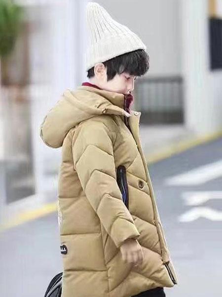 宠来宠趣童装品牌2019秋冬韩版中长款加厚羽绒棉服
