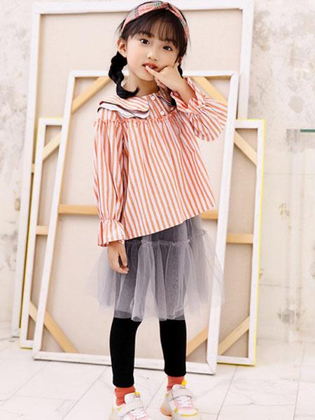 叮当猫潮童童装品牌2019秋冬新款洋气纯棉蕾丝条纹木耳花边长袖衬衫