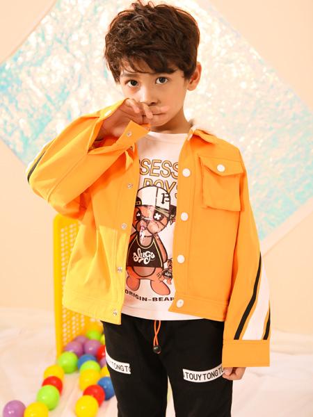 叽叽哇哇童装品牌2019秋季新款韩版潮单排扣百搭牛仔小外套