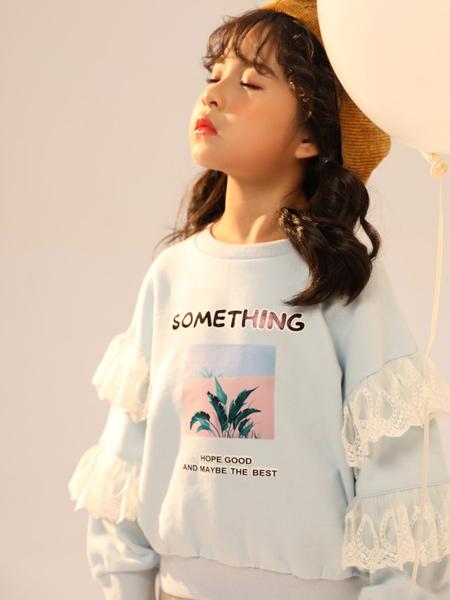 叽叽哇哇童装品牌2019秋季新款舒适棉柔宽松休闲花边长袖T恤衫