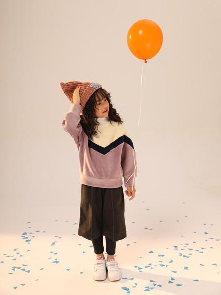 叽叽哇哇童装品牌2019秋季新款圆领上衣打底衫拼色宽松长袖套头毛衣