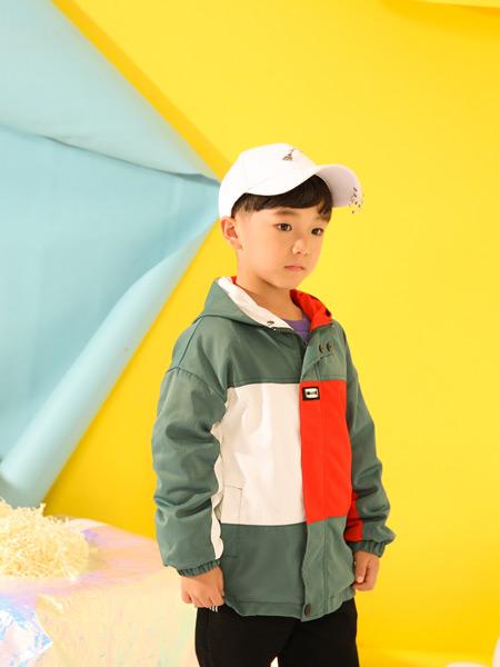 叽叽哇哇童装品牌2019秋季新款多色撞色拼接水洗连帽夹克外套