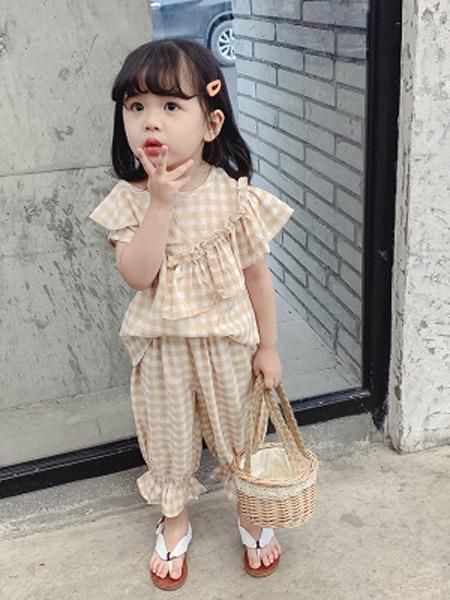 枫烨童装品牌2019春夏新款韩版格子套装九分裤阔腿裤两件套