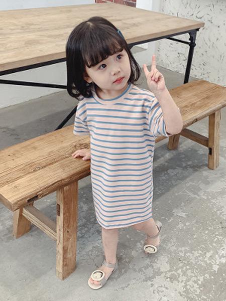 枫烨童装品牌2019春夏新款韩版条纹百搭短袖中长款T恤连衣裙