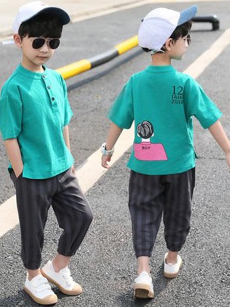 言信童装品牌2019春夏新款短袖两件套帅洋气韩版潮