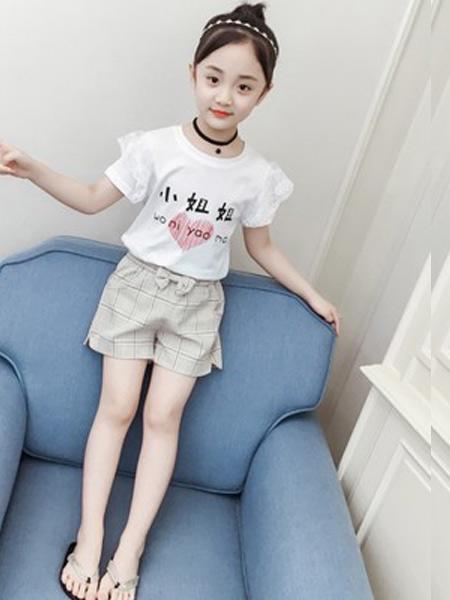 言信童装品牌2019春夏新款韩版洋气短袖T恤短裤套装