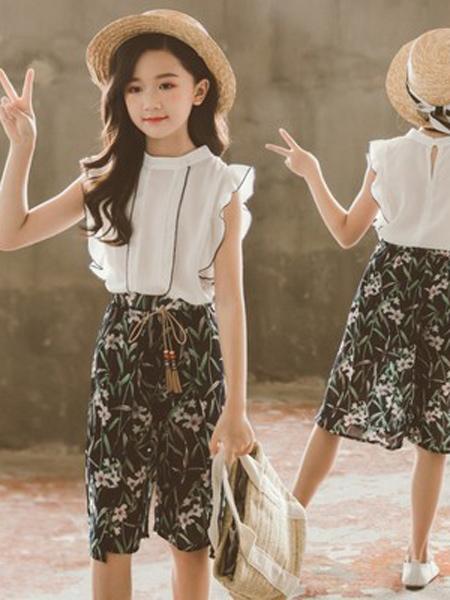 言信童装品牌2019春夏新款洋气套装裙长T恤两件套