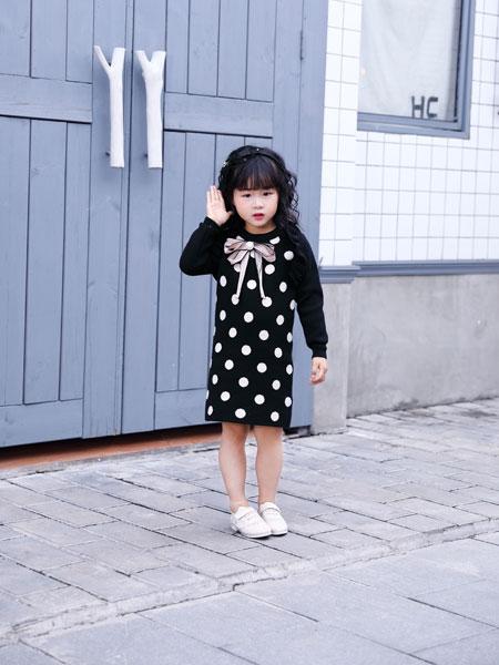 欧米源童装品牌2019秋冬长袖修身显瘦双层毛衣连衣裙