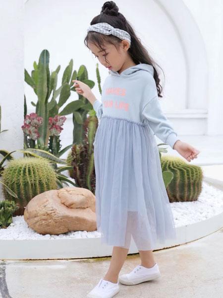 欧米源童装品牌2019秋冬新款甜美宽松中长款t恤裙