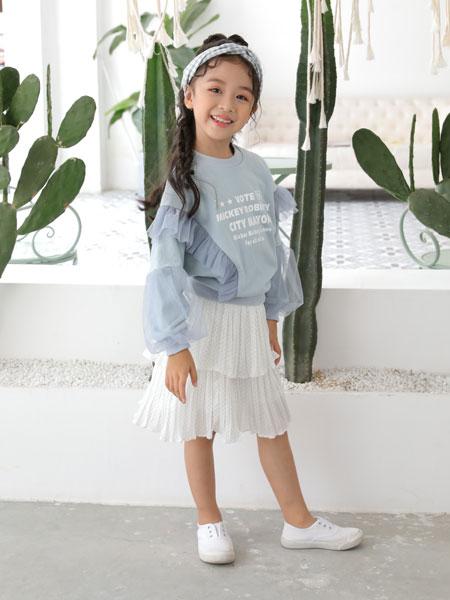 欧米源童装品牌2019秋冬清新蓝色花边卫衣两件套潮