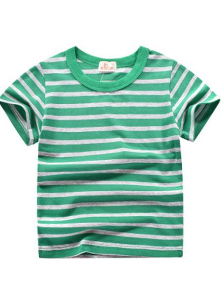 盛森优越童装品牌2019春夏新款韩版条纹纯棉短袖T恤