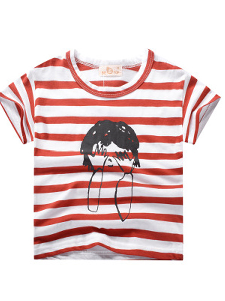 盛森优越童装品牌2019春夏新款条纹印花短袖T恤