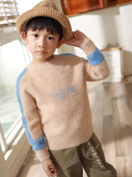 西瓜王子童装品牌2019秋季新款宽松打底衫半高领抽条针织衫长袖套头毛衣