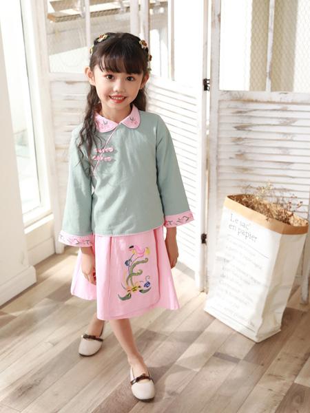 西瓜王子童装品牌2019秋季新款复古上衣裙子汉服套装