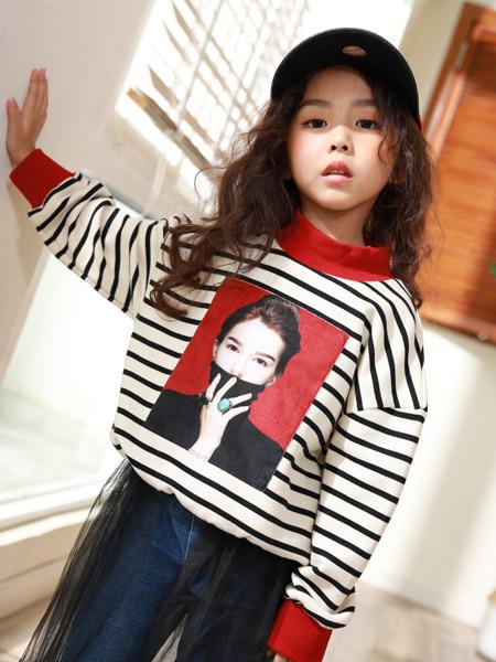 西瓜王子童装品牌2019秋季新款时尚印花拼色条纹针织衫套头宽松毛衣