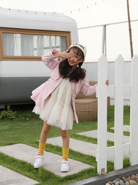 拉斐贝贝童装品牌2019秋季新款女童韩版荧光色连衣公主裙