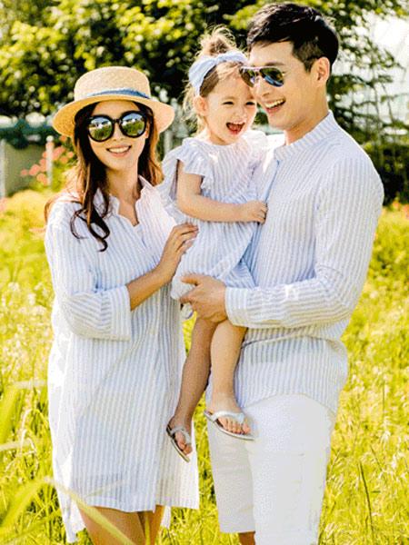 funnylove情侣亲子2019春夏新款韩版时尚家庭装修身条纹母女衬衫群父子立领衬衫