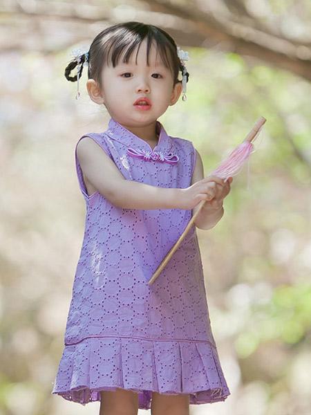 桐花坞童装品牌2019春夏新款纯棉无袖旗袍中国风连衣裙