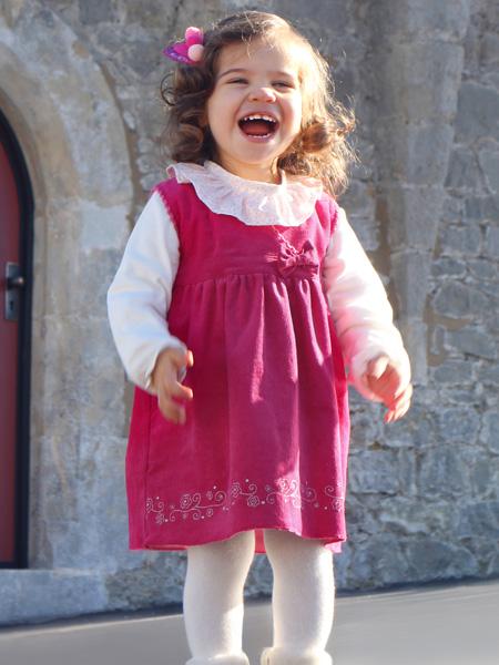 FS Baby童装品牌2019秋季新款时尚背心裙荷叶领T恤两件套装