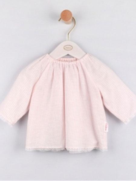 chilicu童装品牌2019春夏粉色短款衬衫