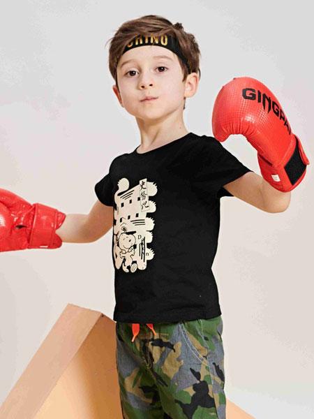 童e时代品牌童装品牌2019春夏童装男童国潮系列儿童卡通短袖T恤