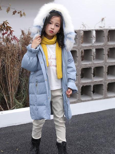 TT&OO童装品牌2019秋冬超大真毛领连帽时尚中长款韩版宽松爆款外套