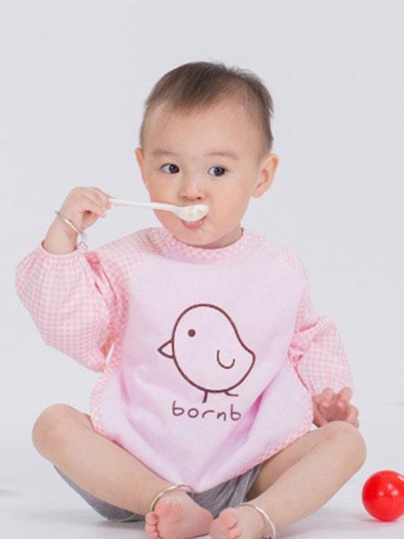 贝贝怡童装品牌2019春季宝宝卡通罩衣儿童防水反穿衣长袖围兜婴儿吃饭衣