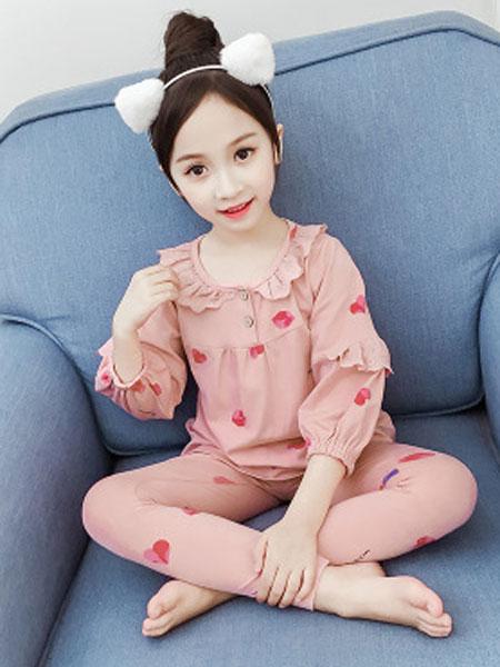 毛毛虫童装品牌2019秋冬粉红色糖果甜心睡衣