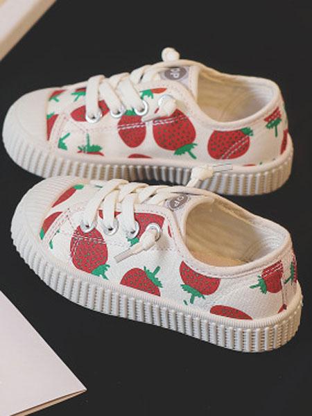 尚雅格童鞋品牌2019秋季草莓款儿童帆布鞋休闲女鞋