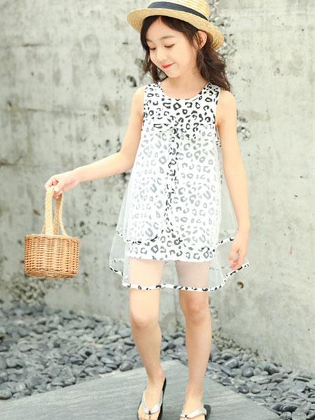 熊妈熊孩子童装品牌2019秋季时尚豹纹打底裙雪纺潮流年新款女童