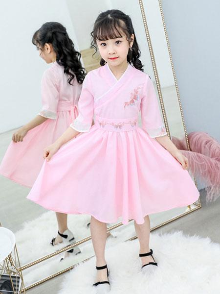 熊妈熊孩子童装品牌2019秋季儿童演出女童汉服改良旗袍中国古风公主裙