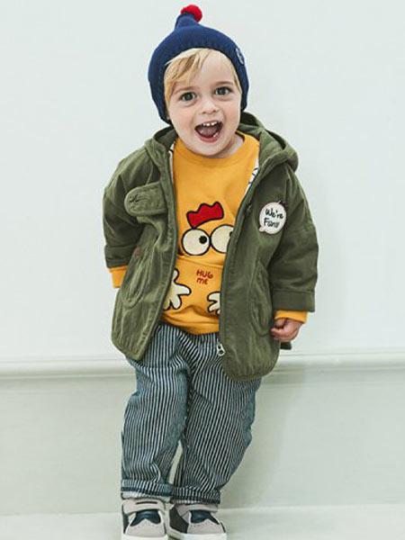 ALFONSO童装品牌2019秋季带帽帅气男宝儿童外套卡通图案内衣