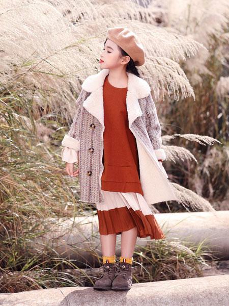 快乐丘比童装品牌2019秋冬秋冬短款格子毛呢大衣中厚毛呢羊羔毛外套女