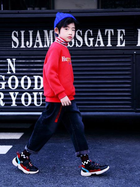 快乐丘比童装品牌2019秋冬男童高领卫衣大红色加绒保暖休闲打底衫